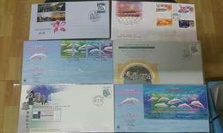 Hong Kong Post stamp 香港郵政郵票套摺首日封石籬郵政局中華白海豚小全張 中華人民共和國成立50週年郵簡 共六個
