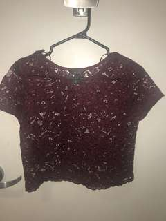 Red wine lace crop top