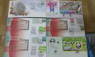 Hong Kong Post stamp 香港郵政郵票套摺首日封 大熊貓在香港集遊巡迴展中華人民共和國成立50週年 1998年亞運會 天工開物共六個