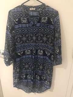 Blue print top/dress