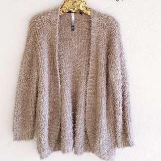 H&M beige fuzzy open cardigan