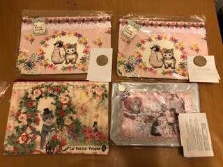 日本製造 Made in Japan  貓貓印花拉鍊袋 全新,$90一個,包本地平郵