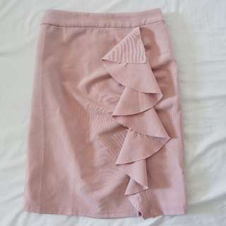 Pastel Pink Skirt with Ruffle in Size S