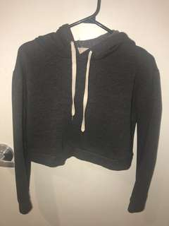 Forever 21 dark grey crop hoodie