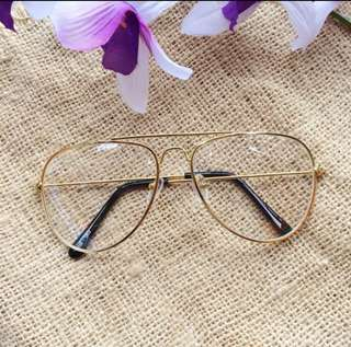 Kacamata Frame aviator clear gold
