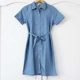 Soft Denim Pinstripe Dress