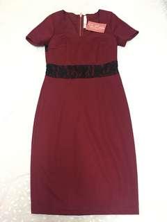 Maroon (red) sweetheart knee length dress