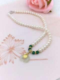 淡水珍珠8-9mmsize + 硬金和田玉大象