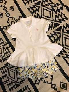 全新 RL 白色POLO裙襬上衣 24M