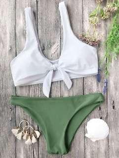 Knotted Bralette Bikini Set - M