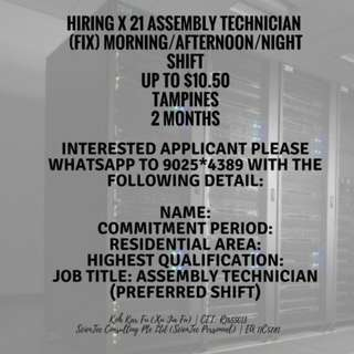 JUNIOR TECHNICIAN X 21   UP TO $10.50/HR   EAST   END JUNE