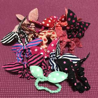Hair 15 pieces for $10 Mailed accessories bunny ears polka dot and striped hair tie