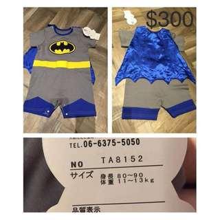 童裝蝙蝠俠套裝 (18個月) 全新日本購回 (披風可拆)