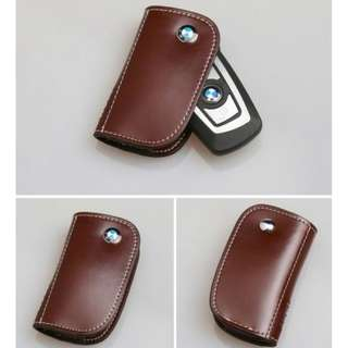 BMW brown leather keyfob case pouch (100% brand new)