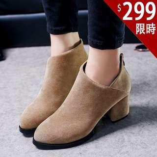🚚 全新37駝色粗跟裸靴短靴高跟靴