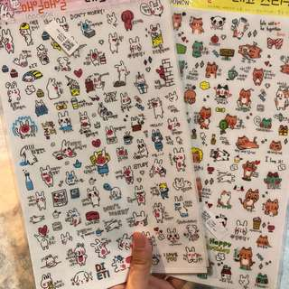 2 sheets journalling/diary/planner/decorative stickers