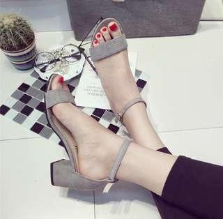(instock) grey block sandal heels