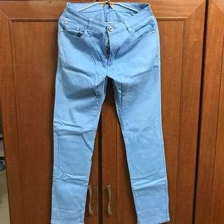 彈性素色修身韓版長褲(天空藍)