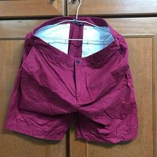 Net 酒紅素色短褲