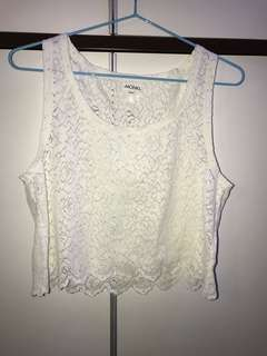 Monki 白色通花背心 White Lace Top Size:S