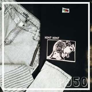 Original Oxygen Jeans and Black printed shirt bundle