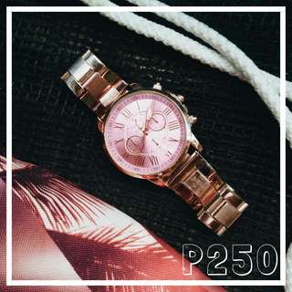 Rosegold watch and stringbag