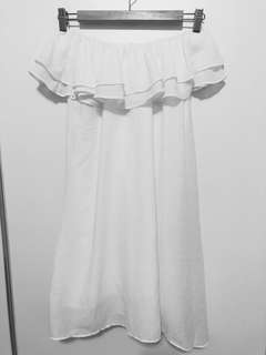 「二手」正韓荷葉ㄧ字領棉麻洋裝