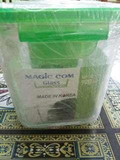 magic com container glass/tempat makan microwave/tempat makan kaca