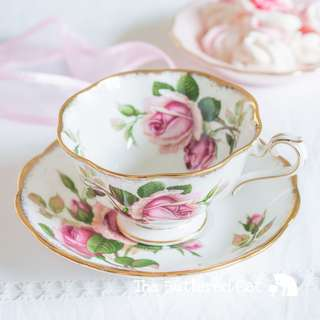 Beautiful vintage Royal Albert Anniversary Rose cabinet teacup and saucer