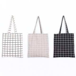 [ACC] Checkered Canvas Reusable Tote Bag