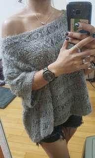 🚚 柔軟針織毛衣一字領斜肩斜領