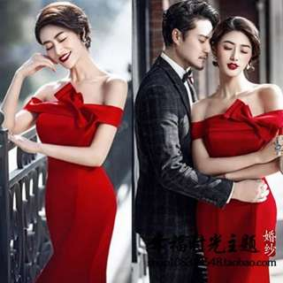 Lowest price guarantee Red Dress. Wedding toast dress. D&D. Evening gown. Tea ceremony. Opening events