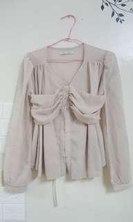 🚚 韓版立體剪裁雪紡上衣綁帶