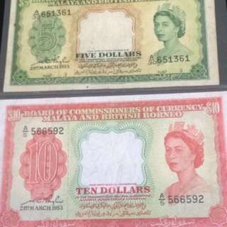 21ST March 1953 Queen. $5 & $10.