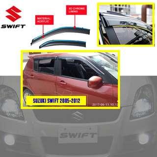 SUZUKI SWIFT 2005-2012 ACRYLIC DOOR VISOR WITH 3D CHROME LINING