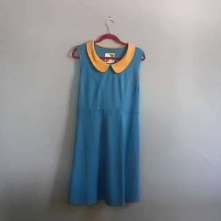 Modcloth 60's Inspired Robin's Egg and Yellow A-Line Dress with Peter Pan Collar XL