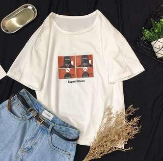 ♥️特價包郵♥️夏裝2018新款短袖女寬松韓版ulzzang百搭白色純棉t恤上衣(Size:M-2XL)