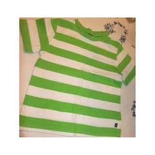 GAP ~ Green n White Striped T-shirt