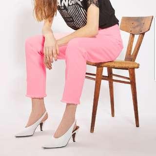 TOPSHOP MOTO Pink Raw Hem Straight Leg Jeans