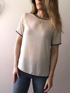 Zara light pink/creme silk like shirt
