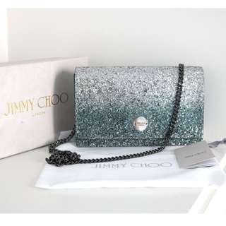 Jimmy Choo FLORENCE Silver and Dusk Blue Fireball Glitter Dégradé Fabric Clutch Bag
