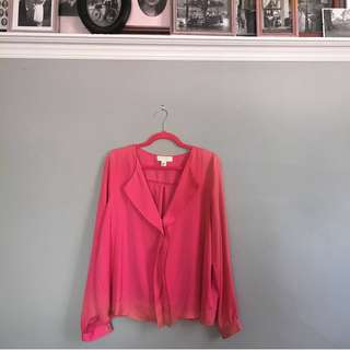 Forever21 Power Pink Drapey Boss Blouse XL
