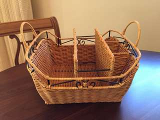 Wicker and Metal Picnic Basket