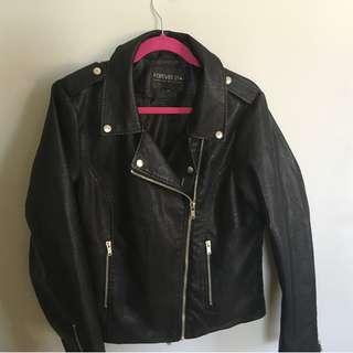 "Forever 21 Vegan ""Leather"" Moto Jacket (L-XL)"