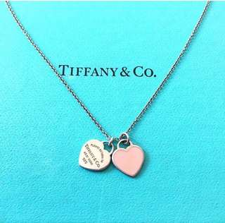 AUTHENTIC TIFFANY & CO Double Heart Tag Necklace / Pendant