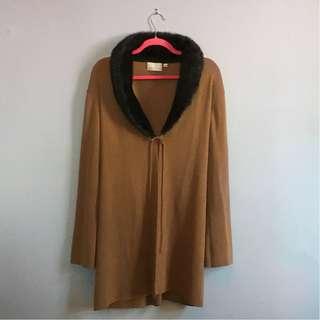 Vintage 90's Faux Fur-trimmed Tie Front Sweater Duster (L-1x)