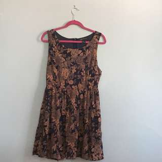 Forever21 Navy and Rust Floral Dress XL