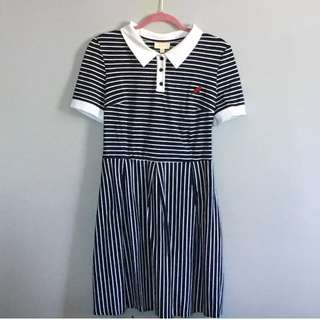 Modcloth Navy and White Striped Fit and Flare Polo Dress with Embroidered Cat Appliqué XL