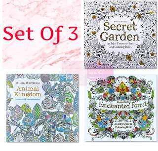 Set of 3 Colouring Books For Adults