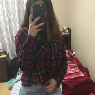 Red white and black plaid cropped flannel